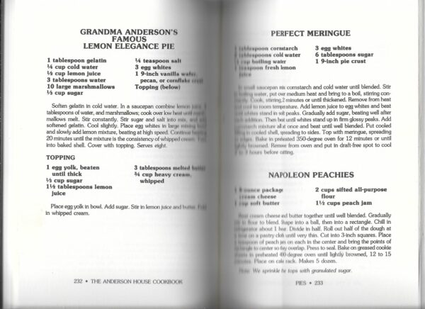 Grandma Anderson's Famous Lemon Elegance Pie from Anderson House Cookbook