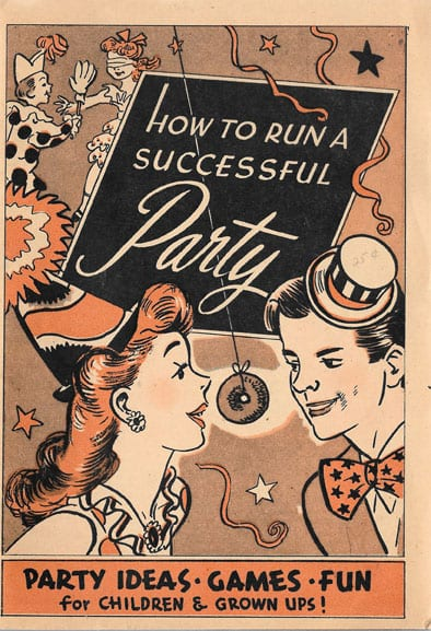 How to Run a Successful Party: Party Ideas, Games, Fun for Children and Grown Ups, 1945, Doughnut Corp. of America, Nearly Mint Condition: Not a recipe book, but a booklet with many party ideas, most of them involving doughnuts. Many mentions of World War II and doughnuts as morale boosters.