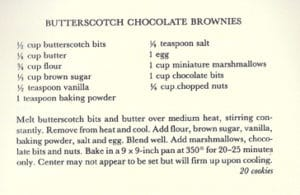 Butterscotch Chocolate Brownies from Gamble House,1987