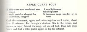 Apple Curry Soup from Thoughts for Buffets, 1958