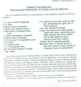 Verna's Galimatias from Talk About Good! Le Livre de la Cuisine de Lafayette, 1969