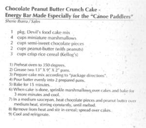Chocolate Peanut Butter Crunch Cake-Energy Bar Made Especially for Canoe Paddlers from Ho ono