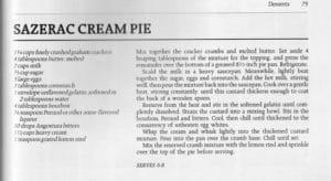 Sazerac Cream Pie from Cajun Cooking, Norma Macmillan, 1987