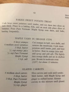 Maple Yams and Glazed Carrots from Vermont Maple Syrup Cook Book, 1974